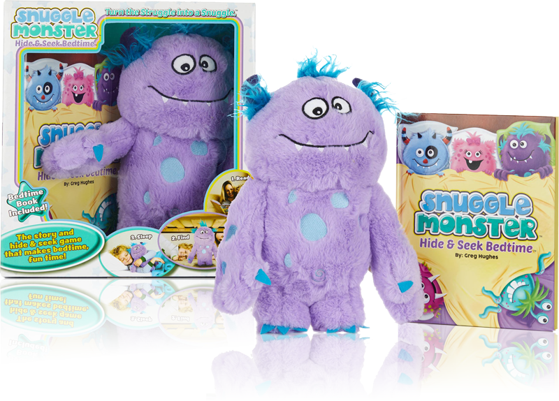 purple Snuggle Monster with book